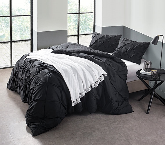 black pin tuck twin xl comforter. Black Bedroom Furniture Sets. Home Design Ideas