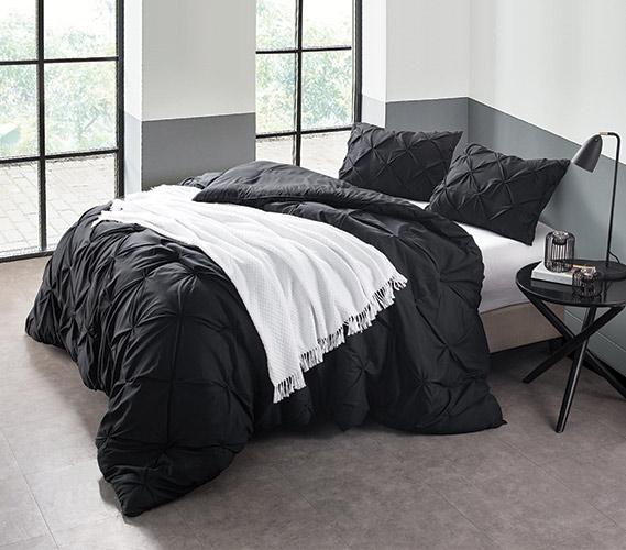 Black Pin Tuck Twin Xl Comforter