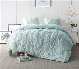 Hint of Mint Pin Tuck Twin XL Comforter Dorm Essentials Dorm Bedding Twin XL Bedding