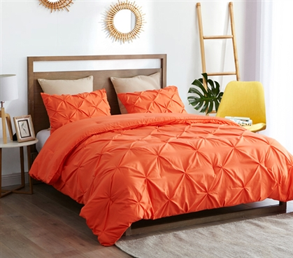Beautiful Pin Tuck College Comforter Colorful Orange Cozy Extra Long Twin Bedding