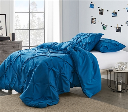 Stylish Extra Long Twin Comforter Unique Pacific Blue Pin Tuck Comfortable Dorm Room Twin XL College Bedding