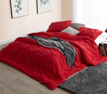 Stylish Pin Tuck Extra Long Twin Comforter One of a Kind Cherry Red College Dorm Room Bedding