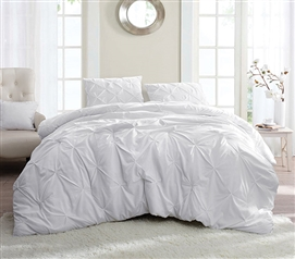 White Pin Tuck Twin XL Comforter Extra Long Twin Bedding Dorm Room Decor
