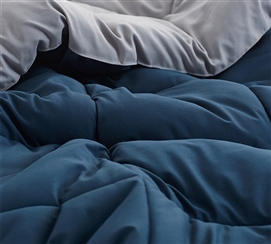 Nightfall Navy/Alloy Full Comforter - Oversized Full XL Bedding