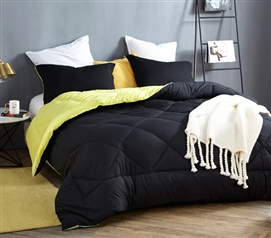 Black/Limelight Yellow Reversible Twin XL Comforter
