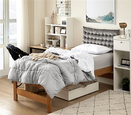 Glacier Gray/White Reversible Twin XL Comforter