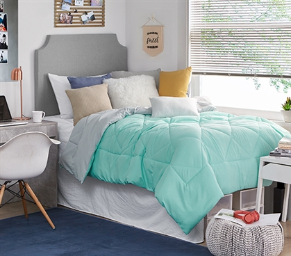 Green and Gray College Bedding Must Have Reversible Glacier Gray/Yucca Extra Long Twin Comforter