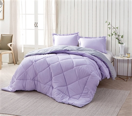 Orchid Petal/Alloy Reversible Twin XL Comforter Twin XL Bedding Dorm Bedding Extra Long Twin Comforter