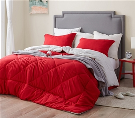 Cherry Red/Silver Birch Reversible Twin XL Comforter
