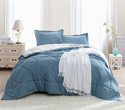 Smoke Blue/Silver Birch Reversible Twin XL Comforter Extra Long Twin Comforter for College Dorm Room Decor