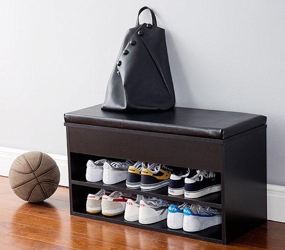 Yak About It The Shoe Rack Bench with Top Cushion - Black - Dorm Seating And Dorm Room Storage - College Dorm Furniture