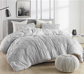 Textured Waves Twin XL Comforter - Supersoft Glacier Gray