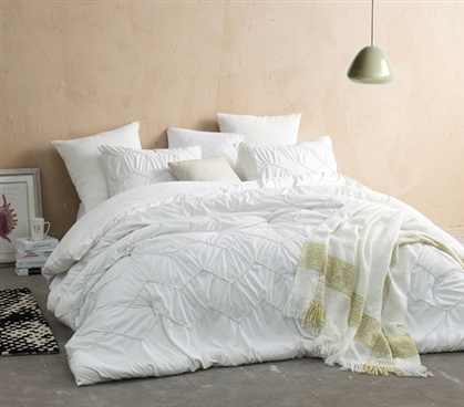 Textured Waves Twin XL Comforter - Supersoft Jet Stream