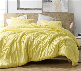 Textured Waves Twin XL Comforter - Supersoft Limelight Yellow