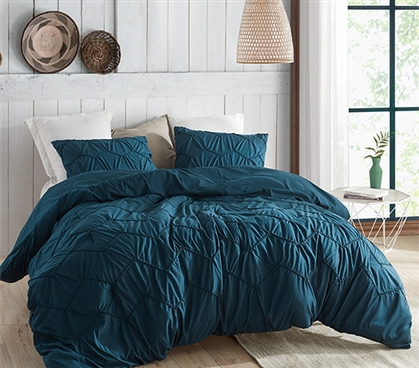 Textured Waves Twin XL Comforter - Supersoft Nightfall Navy