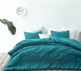 Textured Waves Twin XL Comforter - Supersoft Ocean Depths Teal