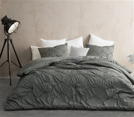 Neutral College Comforter Set Textured Twin Extra Long Bedding Essentials for Dorm Bed Dimensions