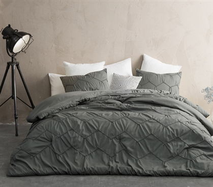 Textured Waves Twin XL Comforter - Supersoft Pewter