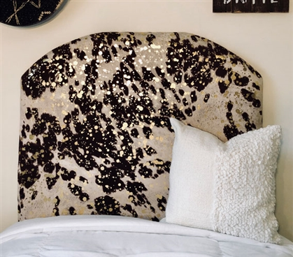 Stylish College Decor Unique Brown & Gold Cow Hide Animal Print Dorm Decor Twin XL College Headboard
