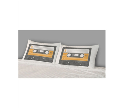 Great College Bedding Accessory - College Pillowcases - Mix Tapes (Set of 2) - Fun Dorm Supply