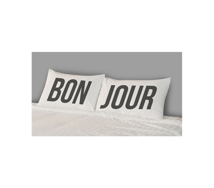 Brings Character To Dorm Bedding - College Pillowcases - Bon Jour (Set of 2) - Cool College Product