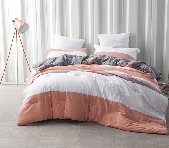 dorm bedding set college coral gray and white striped