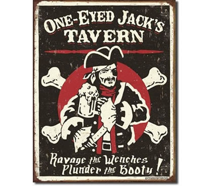 Tin Sign Dorm Room Decor fun one-eyed jack pirate themed illustration tin sign for dorm or college apartment