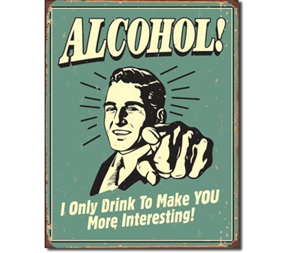 Tin Sign Dorm Room Decor funny drinking poster with classic illustration from 1950's on tin poster sign