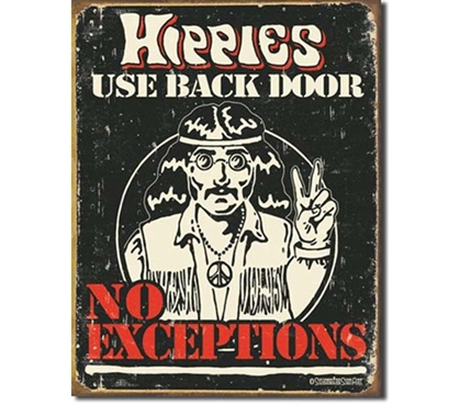 Tin Sign Dorm Room Decor funny hippie guy illustration on vintage tin sign for dorm or apartment wall decoration
