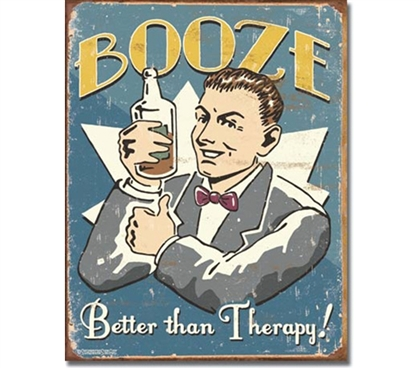 Tin Sign Dorm Room Decor funny dorm room decoration about the benefits of drinking on your psychology.