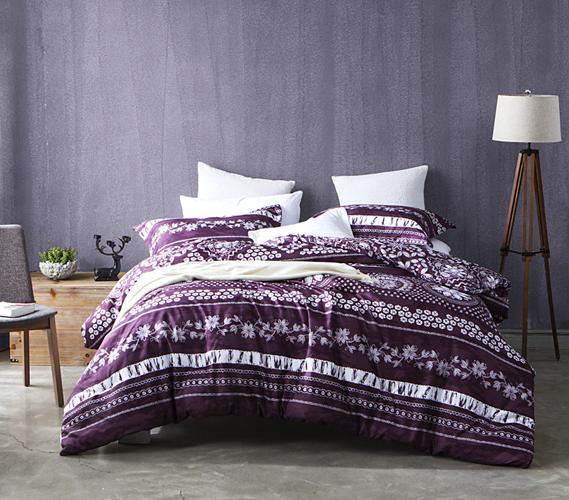 Twin XL Dorm Room Comforter   Mulberry / White Flower Pattern Dorm  Essentials Part 55
