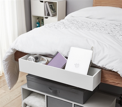 Yak About It Dorm Bedside Organizer - White