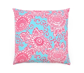 Spring Bloom Aqua Dorm Throw Pillow Cover