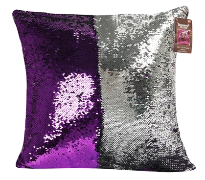 Purple Dorm Pillow Shimmer Sequin for College Bedding