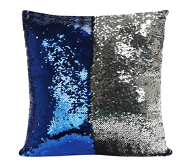 Shimmer Sequin Throw Pillow Blue Dorm Bedding