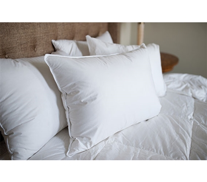 230 TC White Duck Down Dorm Pillow Dorm Essentials Dorm Necessities College Supplies