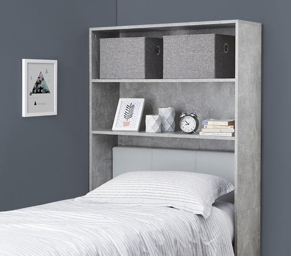 Decorative Dorm Shelf - Over Bed Shelving Unit - Marble Gray