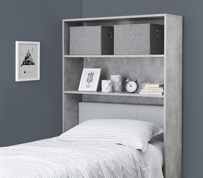 Stylish Marble Gray College Dorm Shelving Unit Over Bed Decorative Dorm Room Furniture