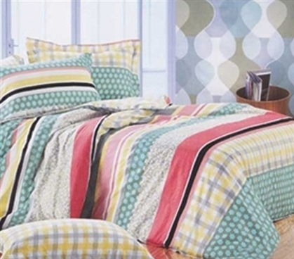 Twin XL Comforter Set Designer Dorm Bedding - Soft and Cozy Cotton Striped Pattern