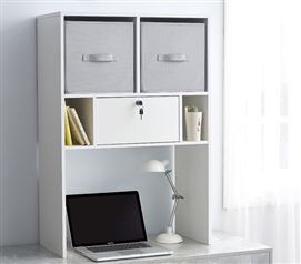 Yak About It Locking Safe Bookshelf - Desktop - White