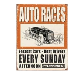 Racing Tin Signs - Auto Races Tin Sign - Decor Form Dorm Walls