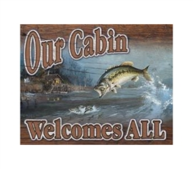 Must-Haves For Dorm - Our Cabin Tin Sign - Decorate With Tin Signs