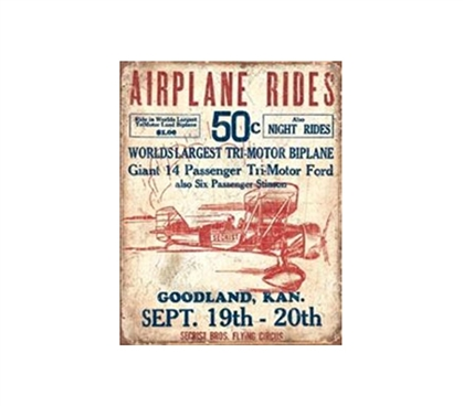Fun Dorm Stuff - Airplane Rides Tin Sign - Buy Essentials For College