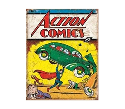 Shop For College Supplies - Action Comics Tin Sign - Add Fun Dorm Stuff