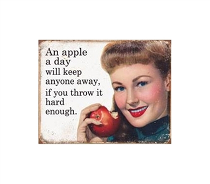 Fun Dorm Stuff - Apple A Day Tin Sign - Wall Decor For Dorm Rooms
