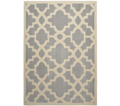 Athens Dorm Rug - Silver and Ivory 5' x 7' Dorm Essentials Dorm Room Decorations
