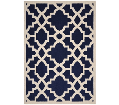 Athens Dorm Rug - Indigo Blue and Ivory 5' x 7' Dorm Room Decorations Dorm Room Decor