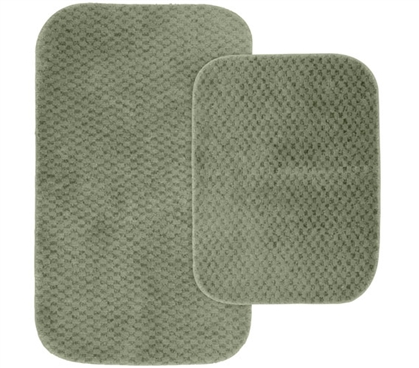 Pin Dot Bath Mat Set - Green (2 Piece Set) Dorm Rugs Dorm Bathroom Rugs for Suite Style Dorm Rooms