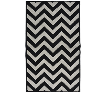 Patterned Dorm Carpets - Chevron College Rug - Black and Silver