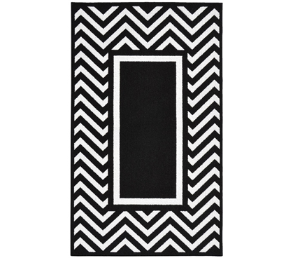 Black and White Dorm Decor - Chevron Frame College Rug - Black and White